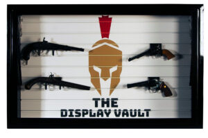 Black Display Vault Spartan Logo With Guns