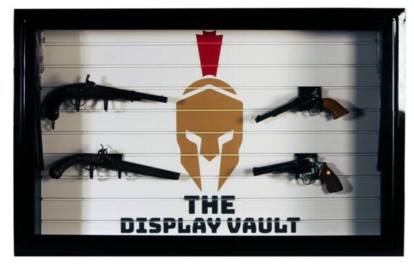 Black Display Vault Spartan Logo With Guns